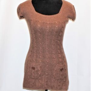 GLIMMER BY J.J. BASICS BROWN KNIT SWEATER DRESS M
